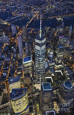 Poster featuring the photograph Nighttime Aerial View Of 1 Wtc by Roman Kurywczak