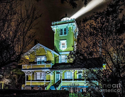 Poster featuring the photograph Nighttime Fog At Hereford Inlet by Nick Zelinsky