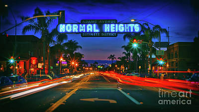 Nighttime Neon In Normal Heights, San Diego, California Poster