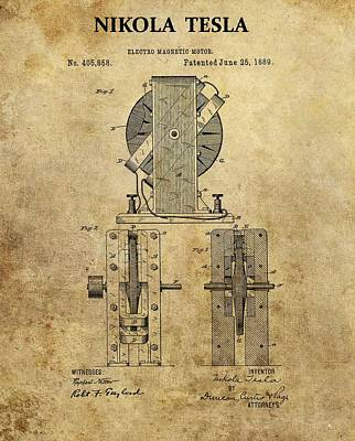 Nikola Tesla's Electro Magnetic Motor Poster by Dan Sproul