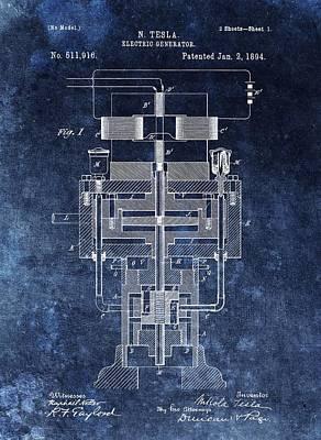 Nikola Tesla's Generator Patent Poster by Dan Sproul