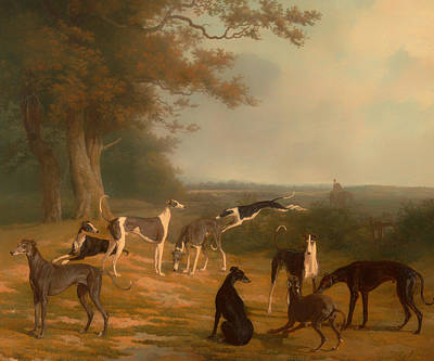 Nine Greyhounds In A Landscape Poster by Mountain Dreams