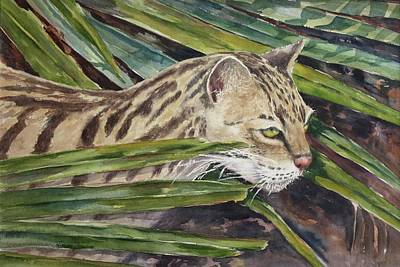 Poster featuring the painting Nirvana - Ocelot by Roxanne Tobaison
