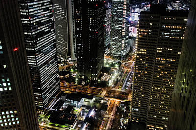 Nishi Shinjuku At Night Poster by Peter Austin