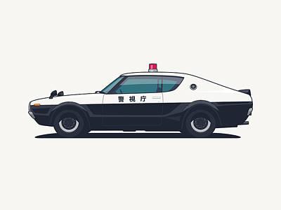 Nissan Skyline Gt-r C110 Japan Police Car Poster