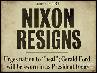 Nixon Resigns Newspaper Headline Poster by Mindy Sommers