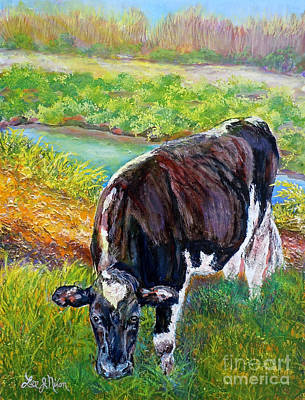 Poster featuring the painting Nixon's Grazing In The Sun by Lee Nixon