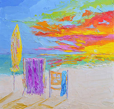 No Need For An Umbrella - Sunset At The Beach - Modern Impressionist Knife Palette Oil Painting Poster by Patricia Awapara