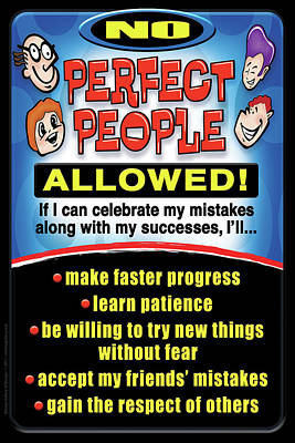Poster featuring the digital art No Perfect People Allowed by Shevon Johnson