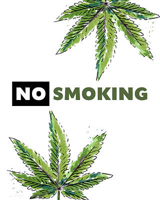 Poster featuring the mixed media No Smoking - Art By Linda Woods by Linda Woods