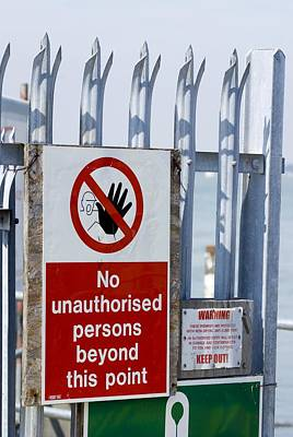 No Unauthorised Persons Sign. Poster