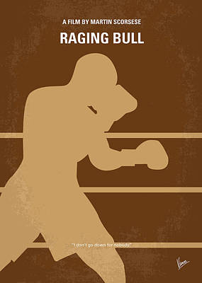 No174 My Raging Bull Minimal Movie Poster Poster by Chungkong Art
