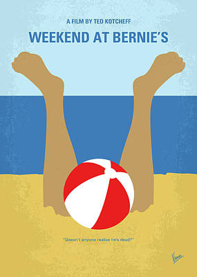 Poster featuring the digital art No765 My Weekend At Bernies Minimal Movie Poster by Chungkong Art
