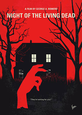 No935 My Night Of The Living Dead Minimal Movie Poster Poster