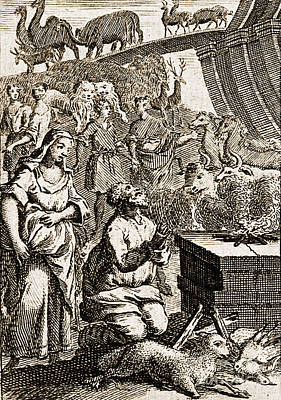 Noah Preparing First Sacrifice After Poster by Wellcome Images