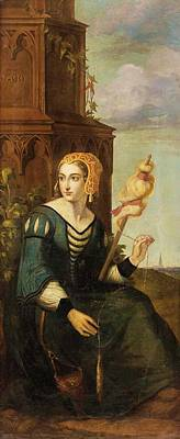 noble lady with distaff before Gothic tower Poster