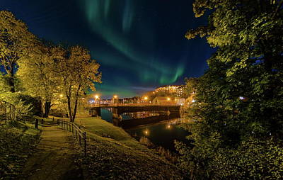 Nordlys Or Northern Light Over Trondheim Poster by Aziz Nasuti