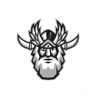 Norse God Odin Head Retro Poster by Aloysius Patrimonio