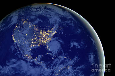 Poster featuring the photograph North America From Space by Delphimages Photo Creations