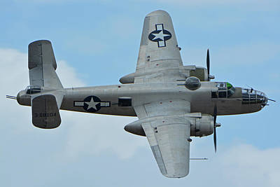 Poster featuring the photograph North American B-25j Mitchell N9856c Pacific Princess Chino California April 30 2016 by Brian Lockett