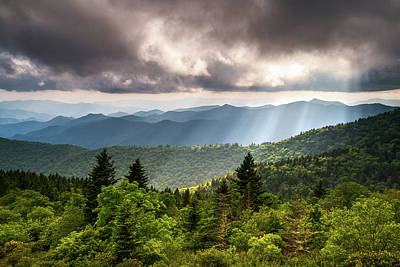 North Carolina Blue Ridge Parkway Scenic Mountain Landscape Poster