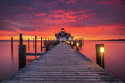 North Carolina Outer Banks Manteo Lighthouse Obx Nc Poster by Dave Allen
