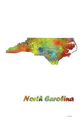 North Carolina  State Map Poster by Marlene Watson