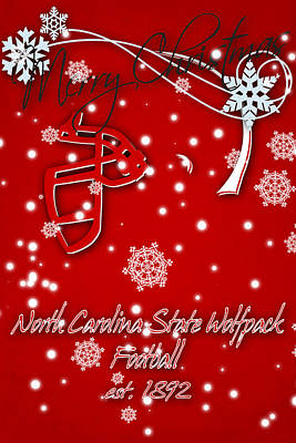 North Carolina State Wolfpack Christmas Card Poster