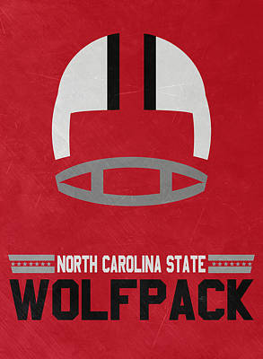 North Carolina State Wolfpack Vintage Football Art Poster by Joe Hamilton