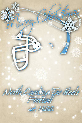 North Carolina Tar Heels Christmas Card Poster by Joe Hamilton