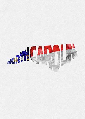 North Carolina Typographic Map Flag Poster
