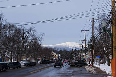 North Conway Winter Mountains Downtown Poster