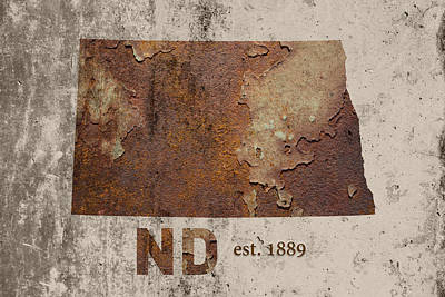 North Dakota State Map Industrial Rusted Metal On Cement Wall With Founding Date Series 025 Poster
