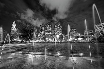 North End Park Fountains Boston Ma Black And White Poster