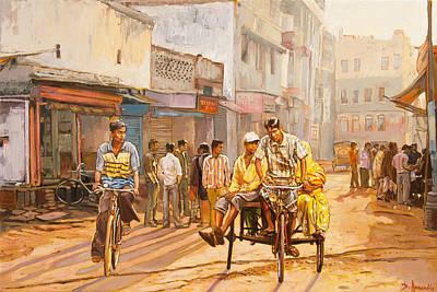 North India Street Scene Poster by Dominique Amendola