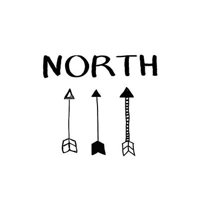 North With Arrows- Art By Linda Woods Poster