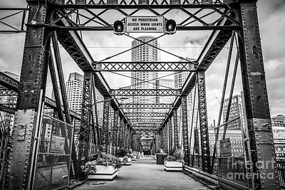 Northern Avenue Bridge Black And White Photo Poster by Paul Velgos