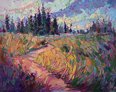 Poster featuring the painting Northern Firs by Erin Hanson