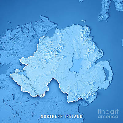 Northern Ireland Country 3d Render Topographic Map Blue Border Poster