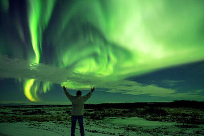 Poster featuring the photograph Northern Light In Western Iceland by Dubi Roman