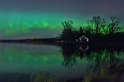 Northern Lights At Gull Lake Poster
