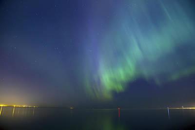 Northern Lights Aurora Borealis Over Sea Northern Europe Poster by Sandra Rugina