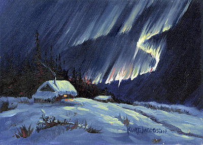 Poster featuring the painting Northern Lights by Kurt Jacobson