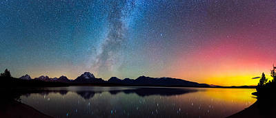 Northern Lights Over Jackson Lake Poster by Darren White
