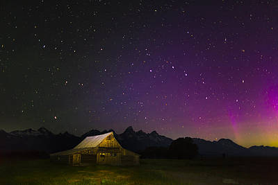 Northern Lights Over The Tetons Poster by Andrew Soundarajan