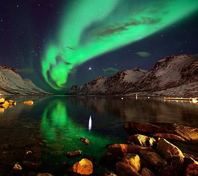 Northern Lights Reflections In Ersfjordbotn Poster by John Hemmingsen