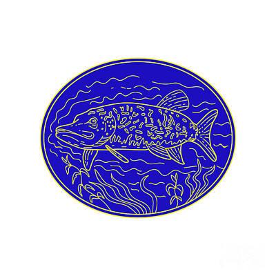 Northern Pike Fish Oval Mono Line Poster