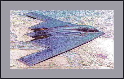 Northrop Grumman B-2 Spirit Stealth Bomber Enhanced With Double Border II Poster by L Brown