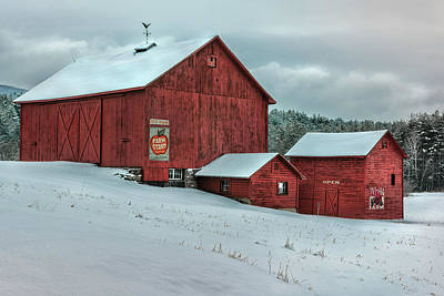 Nostalgic Berkshire Barns Poster by Thomas Schoeller