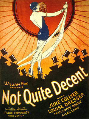 Not Quite Decent, June Collyer, 1929 Poster by Everett